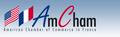 AmCham logo - blue background